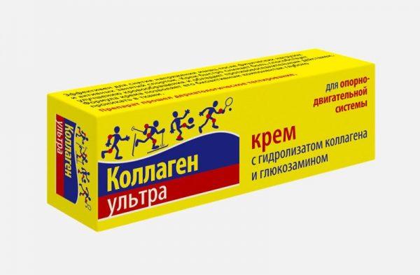 Крем Коллаген Ультра содержит глюкозамин, который снимает воспаление и обезболивает.